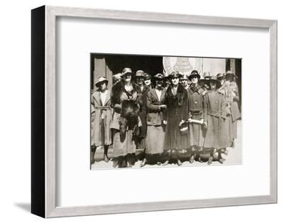 Female telephone operators on strike in Boston, Massachusetts, USA, 1919-Unknown-Framed Photographic Print