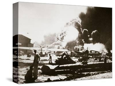 The wreckage-strewn Naval Air Station, Pearl Harbour, 7th December 1941-Unknown-Stretched Canvas Print