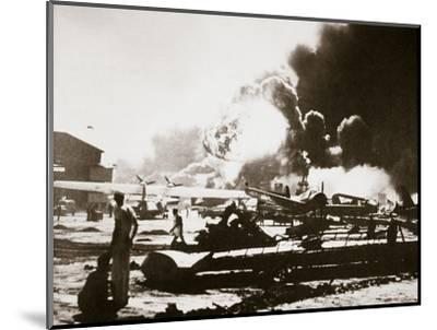 The wreckage-strewn Naval Air Station, Pearl Harbour, 7th December 1941-Unknown-Mounted Photographic Print
