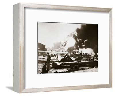 The wreckage-strewn Naval Air Station, Pearl Harbour, 7th December 1941-Unknown-Framed Photographic Print