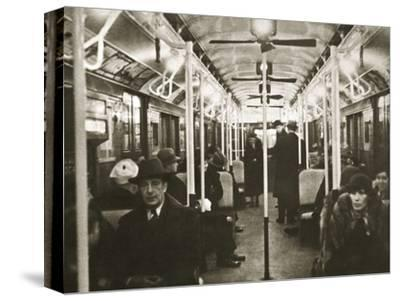 Interior of an Eighth Avenue subway carriage, New York, USA, early 1930s-Unknown-Stretched Canvas Print