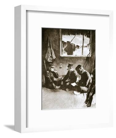 Japanese soldier making a telephone call, Russo-Japanese War, c1904-c1905-Unknown-Framed Giclee Print