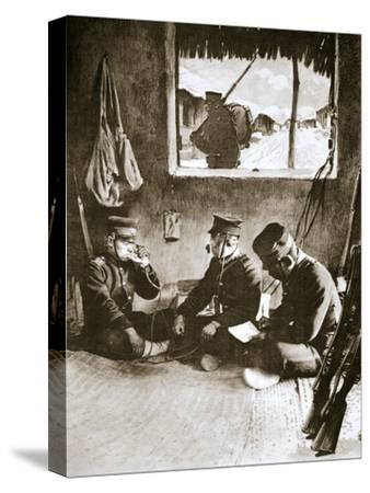 Japanese soldier making a telephone call, Russo-Japanese War, c1904-c1905-Unknown-Stretched Canvas Print