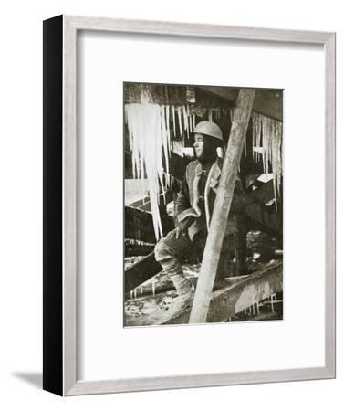A wintry scene on the Western Front, the Somme, France, World War I, c1916-Unknown-Framed Photographic Print