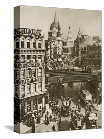 Spire of St Martin's Ludgate and St Paul's Cathedral, London, 20th century-Unknown-Stretched Canvas Print