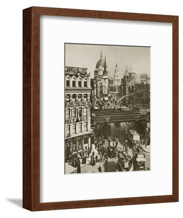 Spire of St Martin's Ludgate and St Paul's Cathedral, London, 20th century-Unknown-Framed Photographic Print