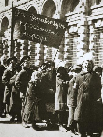Russian children demonstrate for education and a better life, February 1917-Unknown-Framed Photographic Print