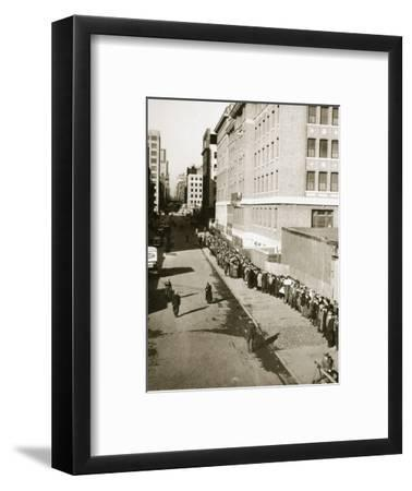 The breadline, a visible sign of poverty during the Great Depression, USA, 1930s-Unknown-Framed Photographic Print