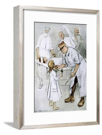'Peace and Intervention: German Militarism on the Allies Operating Table', 1916-Louis Raemaekers-Framed Giclee Print