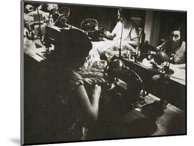 Female workers at a negligee factory in midtown Manhattan, New York, USA, 1920s-Unknown-Mounted Photographic Print