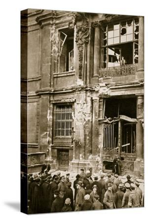 A crowd of men gathered in front of a ruined building, Germany c1918-c1919(?) (1936)-Unknown-Stretched Canvas Print