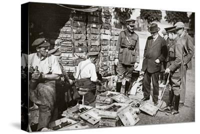 Mr Asquith watching men adjusting fuses, Somme campaign, France, World War I, 1916-Unknown-Stretched Canvas Print