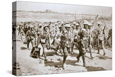 Australian machine-gunners returning from the trenches, France, World War I, 1916-Unknown-Stretched Canvas Print
