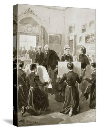 Bluecoat schoolboys showing their drawings to Queen Victoria, 3 April 1873 (1901)-Unknown-Stretched Canvas Print
