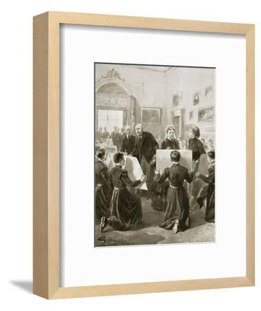 Bluecoat schoolboys showing their drawings to Queen Victoria, 3 April 1873 (1901)-Unknown-Framed Giclee Print