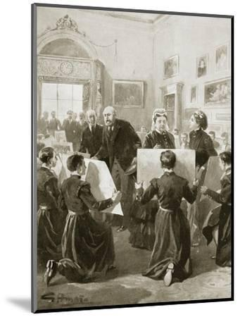 Bluecoat schoolboys showing their drawings to Queen Victoria, 3 April 1873 (1901)-Unknown-Mounted Giclee Print