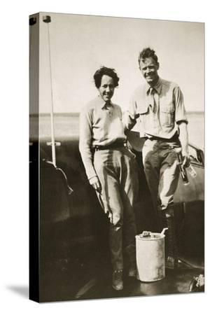 American aviator Charles Lindbergh and his wife Anne after their flight to Japan, 1931-Unknown-Stretched Canvas Print