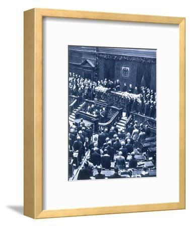 Swearing-in ceremony of President Field Marshal von Hindenburg, Berlin, 12th May, 1925-Unknown-Framed Photographic Print
