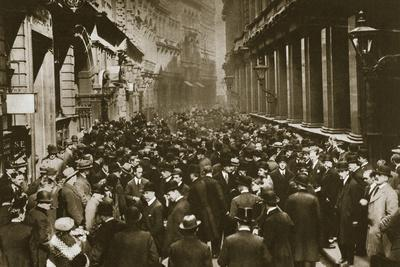 In Throgmorton Street beside the north wall of the London Stock Exchange, 20th century-Unknown-Framed Photographic Print