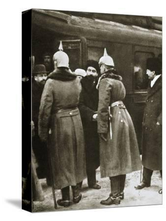 Trotsky and Russian delegates welcomed by German officers, Brest-Litovsk, Russia, 1917-Unknown-Stretched Canvas Print