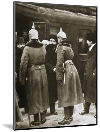 Trotsky and Russian delegates welcomed by German officers, Brest-Litovsk, Russia, 1917-Unknown-Mounted Photographic Print