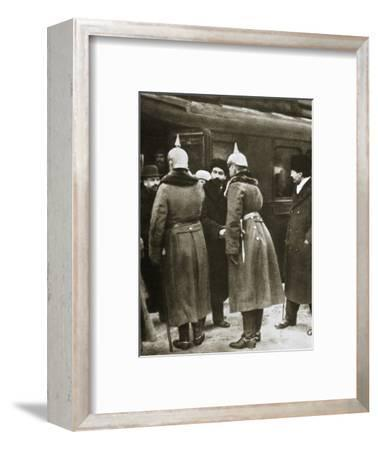 Trotsky and Russian delegates welcomed by German officers, Brest-Litovsk, Russia, 1917-Unknown-Framed Photographic Print