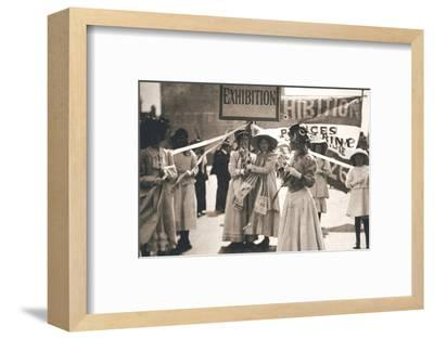 Young suffragettes promote the fortnight-long Women's Exhibition, London, 13 May 1909-Unknown-Framed Photographic Print