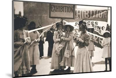 Young suffragettes promote the fortnight-long Women's Exhibition, London, 13 May 1909-Unknown-Mounted Photographic Print