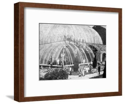 Making repairs to the Great Conservatory at Chatsworth, Derbyshire, late 19th century-Unknown-Framed Photographic Print