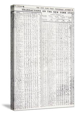 Stock-market listings as recorded in the New York Times, Wednesday, 30 October, 1929-Unknown-Stretched Canvas Print