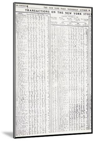 Stock-market listings as recorded in the New York Times, Wednesday, 30 October, 1929-Unknown-Mounted Photographic Print
