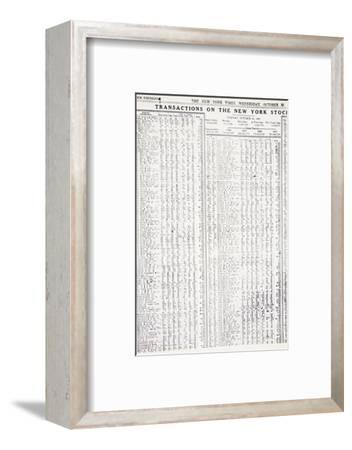 Stock-market listings as recorded in the New York Times, Wednesday, 30 October, 1929-Unknown-Framed Photographic Print
