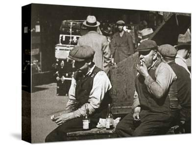Day labourers having a hot dog and lemonade, Battery Park, New York, USA, early 1930s-Unknown-Stretched Canvas Print