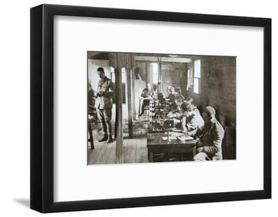 Interior of a signal exchange during the Battle of the Somme, France, World War I, 1916-Unknown-Framed Photographic Print