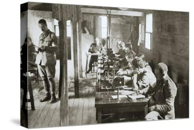 Interior of a signal exchange during the Battle of the Somme, France, World War I, 1916-Unknown-Stretched Canvas Print