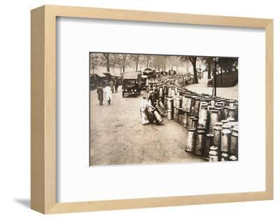 Milk churns being delivered to Hyde Park, London, during the General Strike, 8 May 1926-Unknown-Framed Photographic Print