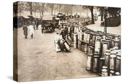 Milk churns being delivered to Hyde Park, London, during the General Strike, 8 May 1926-Unknown-Stretched Canvas Print