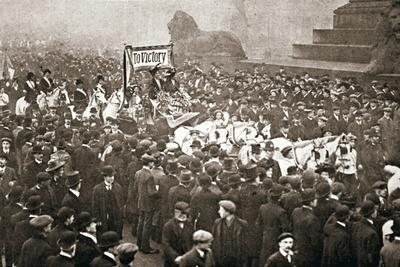 Procession to welcome the early release of suffragettes from prison on 19 December 1908-Unknown-Framed Photographic Print