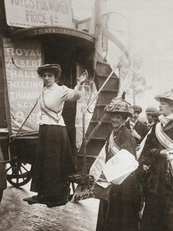 Barbara Ayrton, British suffragette, campaigning on the Votes for Women bus, October 1909-Unknown-Framed Photographic Print