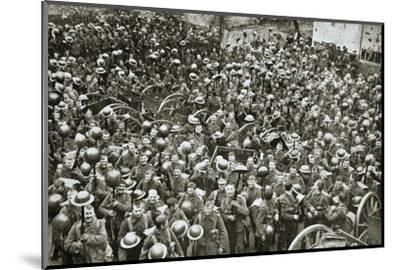 'The Loyal North Lancashire Regiment parading for the trenches', France, World War I, 1916-Unknown-Mounted Photographic Print