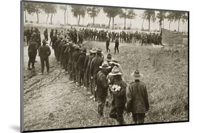New Zealand troops queuing for a field canteen, Somme campaign, France, World War I, 1916-Unknown-Mounted Photographic Print