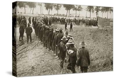 New Zealand troops queuing for a field canteen, Somme campaign, France, World War I, 1916-Unknown-Stretched Canvas Print
