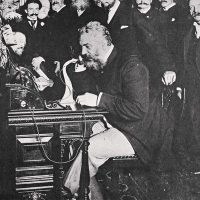 Alexander Graham Bell makes the first telephone call between New York and Chicago, USA, 1892-Unknown-Framed Photographic Print