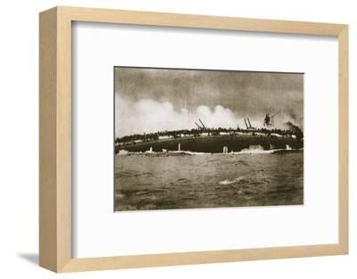 The sinking of the German cruiser 'Blücher' in the North Sea, World War I, January 24, 1915-Unknown-Framed Photographic Print