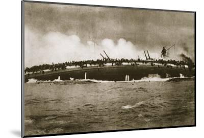 The sinking of the German cruiser 'Blücher' in the North Sea, World War I, January 24, 1915-Unknown-Mounted Photographic Print