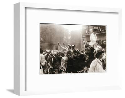 Two suffragettes celebrating their release from Holloway Prison, London, on 22 August 1908-Unknown-Framed Photographic Print