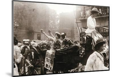 Two suffragettes celebrating their release from Holloway Prison, London, on 22 August 1908-Unknown-Mounted Photographic Print