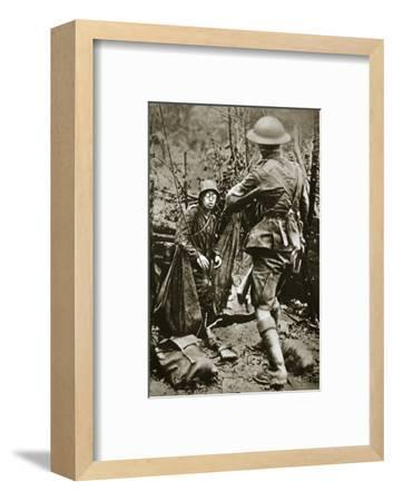 British 'mopping-up' squad surprises a German straggler, World War I, Aisne, France, 1918-Unknown-Framed Photographic Print