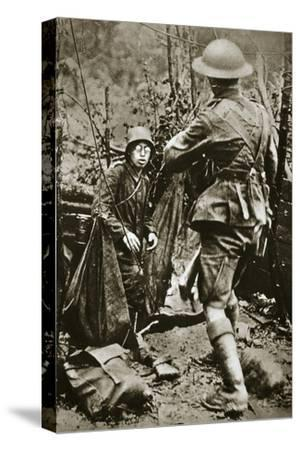 British 'mopping-up' squad surprises a German straggler, World War I, Aisne, France, 1918-Unknown-Stretched Canvas Print