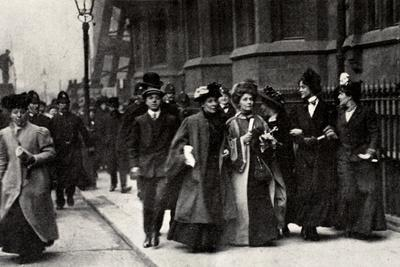 Emmeline Pankhurst, British suffragette leader, carrying a petition, London, 13 February 1908-Unknown-Framed Photographic Print